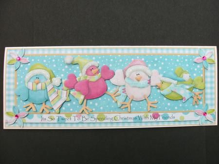 Its So Tweet to Spend Christmas with Friends Dl Card Front on Craftsuprint created by Christine Sutton - Printed onmto good quality photo paper, cut out and mounted onto my base card. I decoupaged using silicone glue and finished with glamour dust and a pom pom to the hats and pink gems to the flowers. Fab design, lovely colours and so easy to make. Looks wonderful when complete - love it.