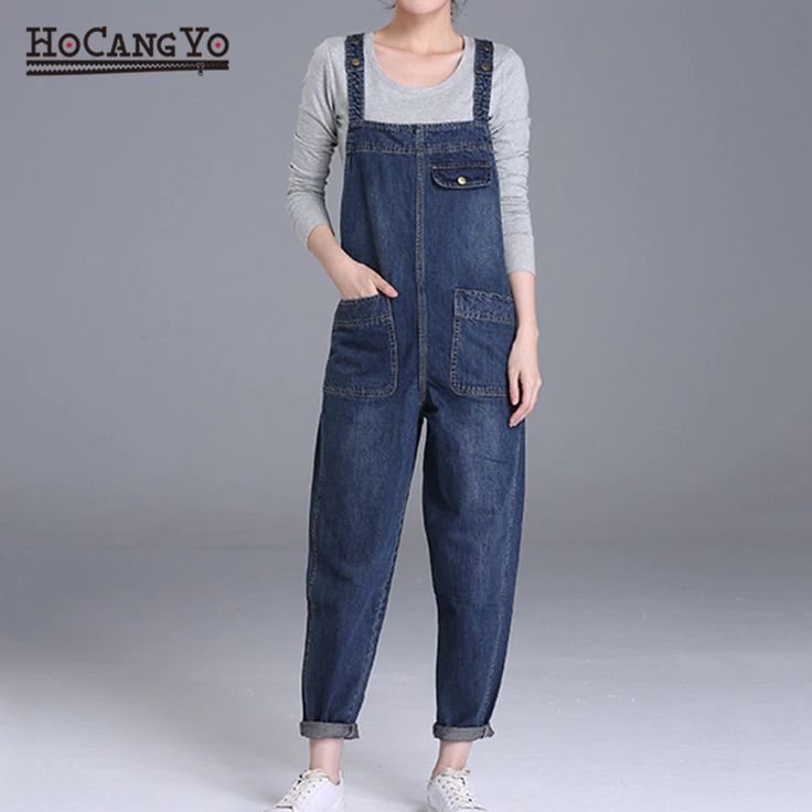 Denim Jumpsuits Pants Loose Leg Denim Overalls Women PU27 1