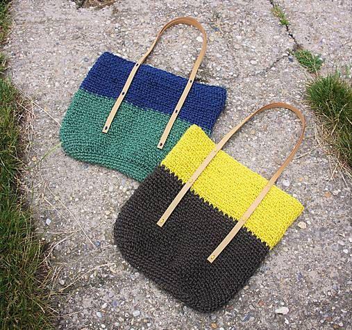 Green Blue Jute Tote / Jute Market Bag / Large Twine by RUKAMIshop