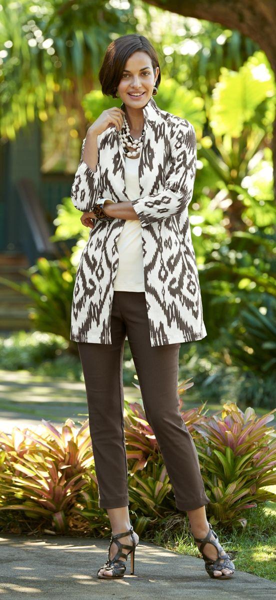 Elegant Ikat-Printed Linen Jacket