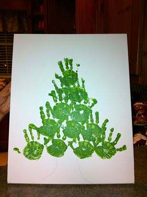 We could do this with all of their hands & then write their names in red paint pen on their specific hand print & give it to Maw-Maw to hang at her house since she doesn't put up a tree anymore.....thoughts?