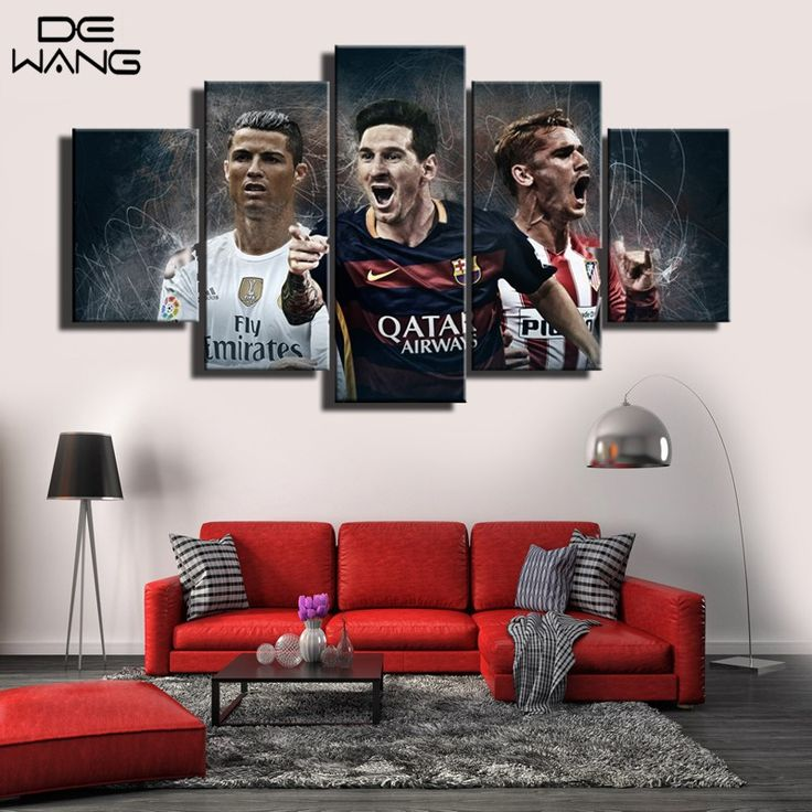 Discount! US $11.30  World Cup Barcelona Atletico Madrid 5 Piece Modern Painting Frame Football Wall Art Canvas Picture For Living Room Home Decor   #World #Barcelona #Atletico #Madrid #Piece #Modern #Painting #Frame #Football #Wall #Canvas #Picture #Living #Room #Home #Decor