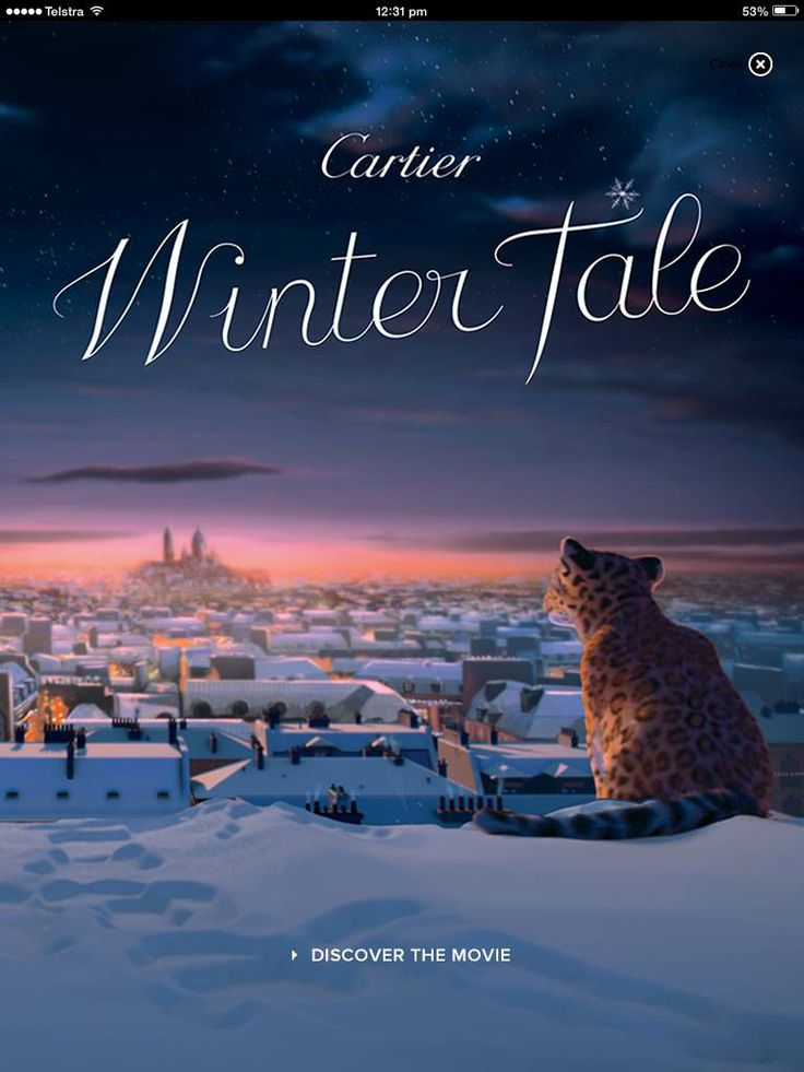 Cartier created a Winter Tale movie - on click the ad goes through to the site (after an AU site option pops up). The video features on the landing page, and you can browse the Cartier site within the app...