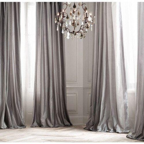 Amazing PLATINUM SILK Curtain, Dupioni Silk, Grey, Silver, Window Dressing, Draping,