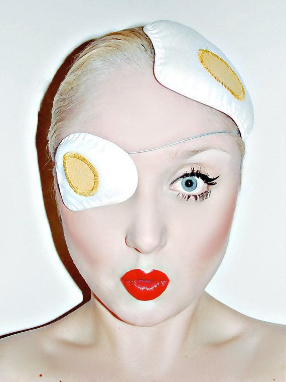 White & yellow fried egg hat fascinator on by TheVelvetVillage
