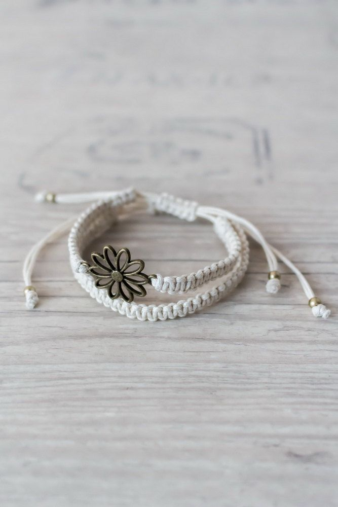 Ivory flower bracelet Macrame bracelet set Hippie gift Macrame jewelry Sister gift Friendship bracelet by ElvishThings on Etsy