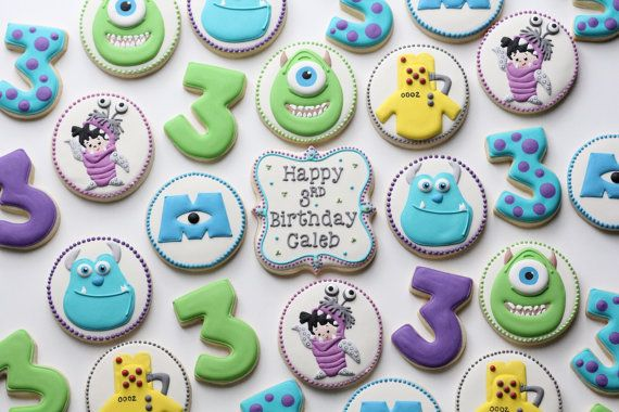 Monsters Inc. Sugar Cookies 3 dozen by CookieConfectionery on Etsy, $145.00