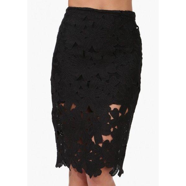 Falda de tubo negra con diseño floral efecto ganchillo