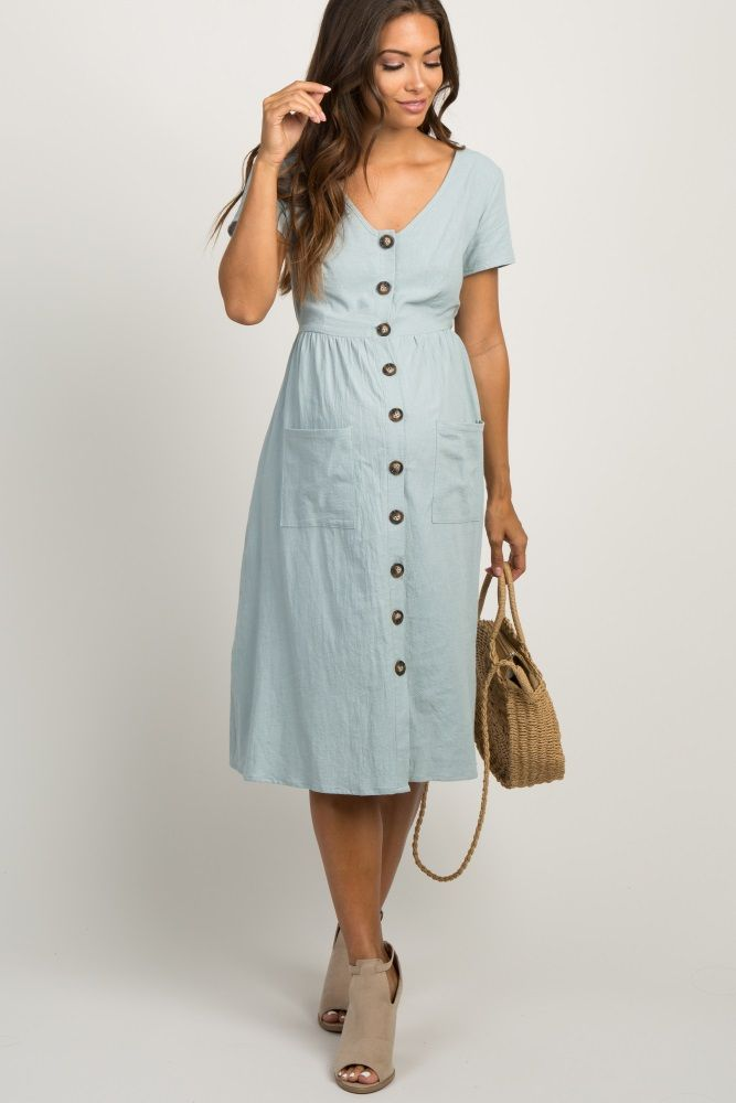 513230db5b Light Blue Button Front Midi Dress | My Style | Maternity midi dress ...