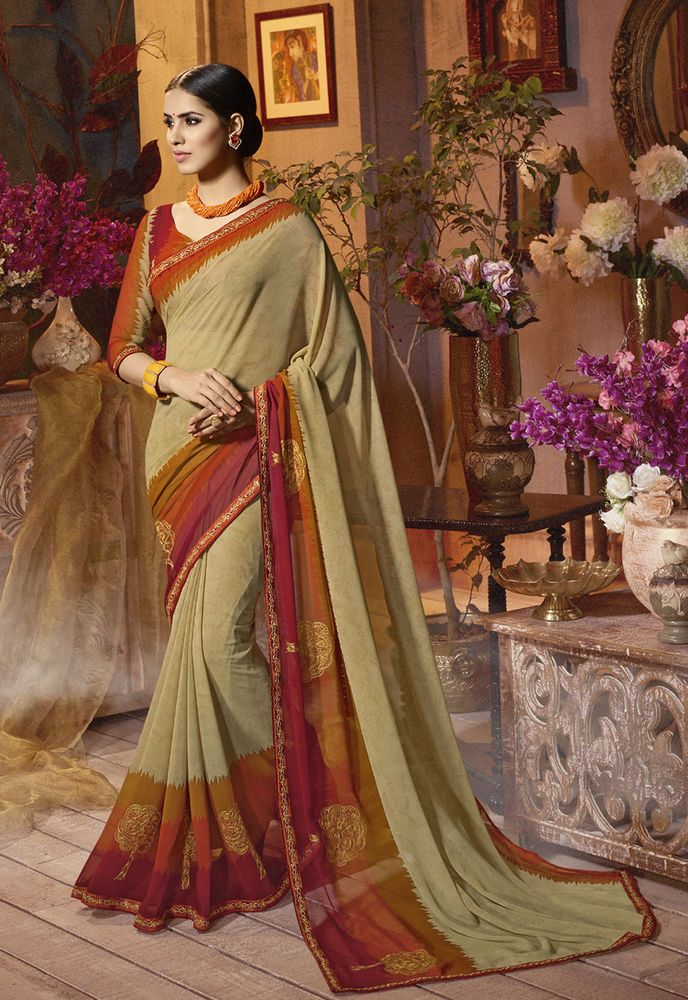 81bc614a8 Indian Designer Beige Printed Border Bollywood Sari Georgette Party Wear  Saree  fashion  clothing  shoes  accessories  worldtraditionalclothing ...