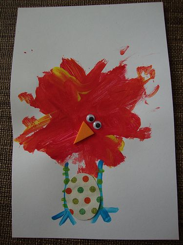 Roly Poly Egg Art Project: color mixing bird fun - easy lesson
