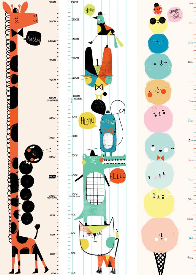 Children's height charts by Corby Tindersticks, published by Bobby Rabbit