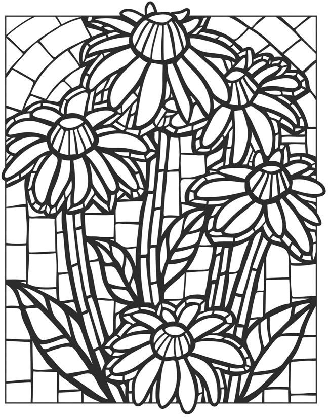 Stained Glass Coloring Pages For Adults Best Coloring Pages For Kids Animal Coloring Pages Flower Pattern Drawing Flower Coloring Pages