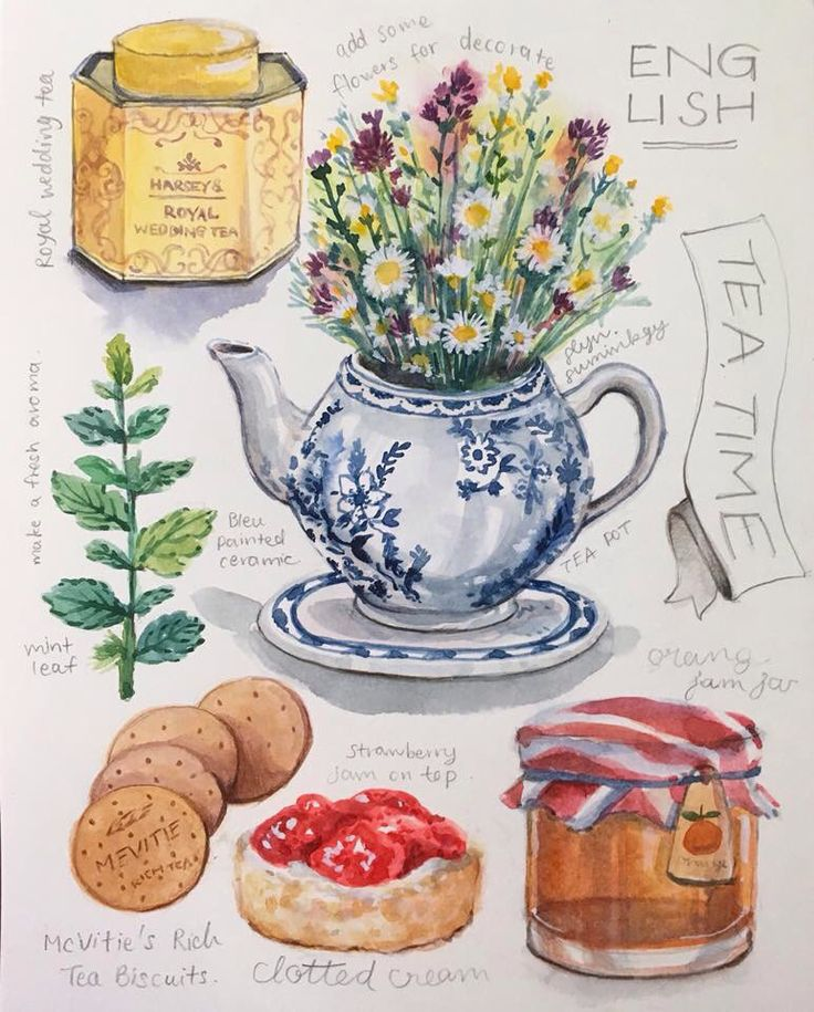 English Tea time illustration