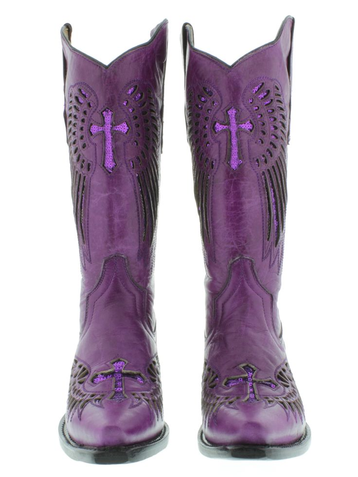women western boots with purple | Women'S Cowboy Boots Ladies Purple Leather Sequins Western Riding ...