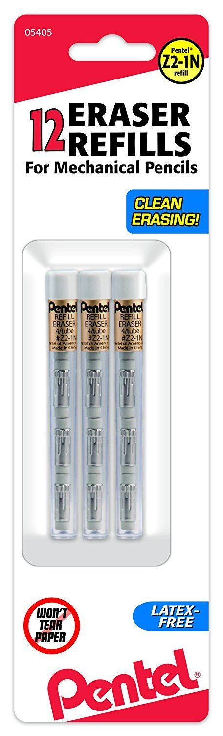Amazon.com : Pentel Refill Eraser for Mechanical Pencils, 3 Tubes per pack, 4 erasers per tube : Mechanical Pencils : Office Products
