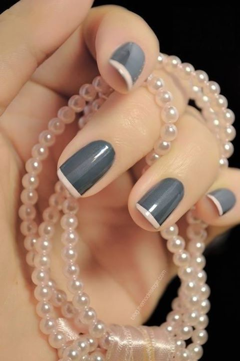 Pretty manicure, grey nails with pink french tips, Nail Art