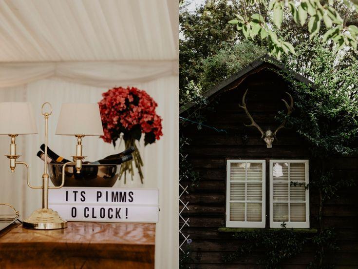 Hurrah! It's Pimms O'Clock. Photo by Benjamin Stuart Photography #weddingphotography #pimmsoclock #bar #cheers #weddingdecor #receptiondecor