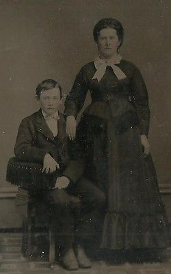 TINTYPE PHOTO GROUP SON & MOTHER POSING LARGE HOOP DRESS ON MOTHER