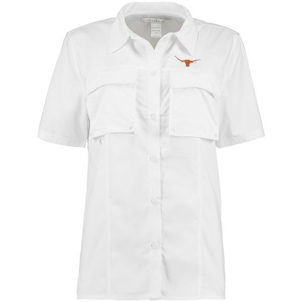 Texas Longhorns chicka-d Women's Fish Camp Button Up Shirt - White - $54.99