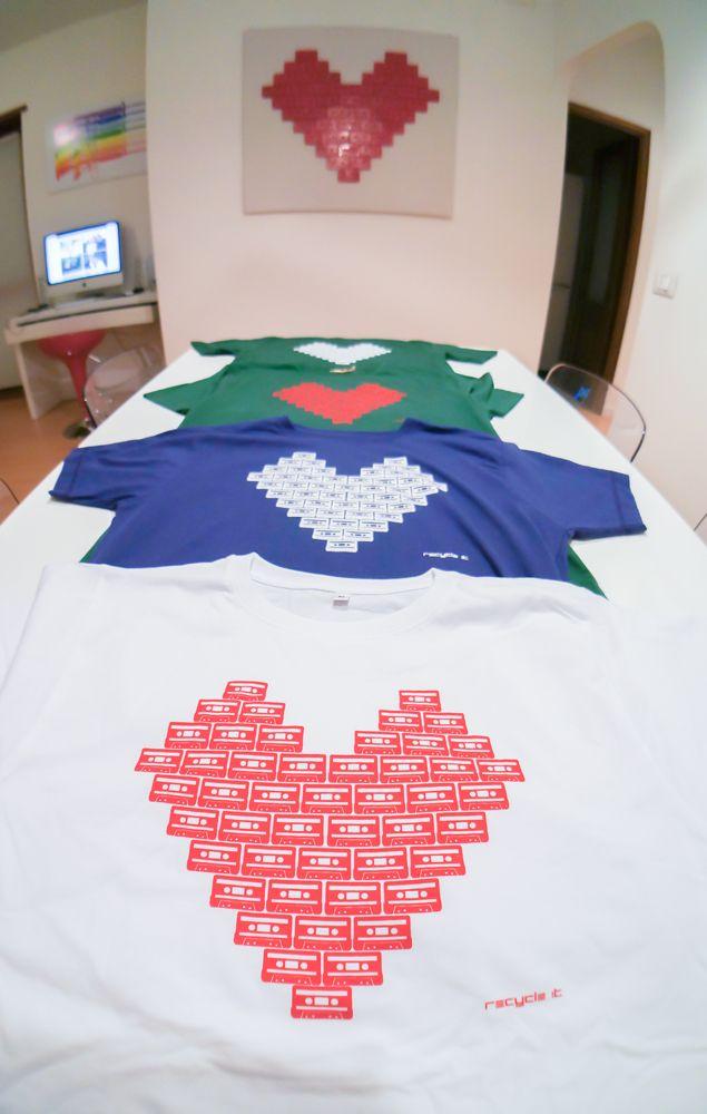 T-Shirt Logo We love Music #music #tape #heart #tshirt