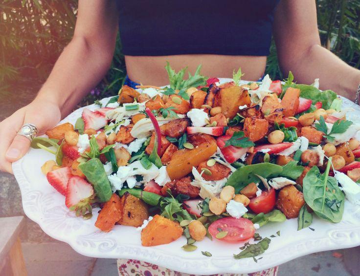 Maple-roasted Pumpkin, Sweet Potato & Chicken Salad with Strawberries & Caramelised Macadamias