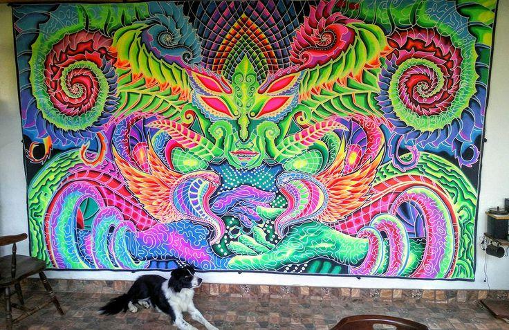XXL UV Backdrop An Eye For I Psy Wandbehang 4m x 2m Hippie Goa Tuch Wandtuch Art