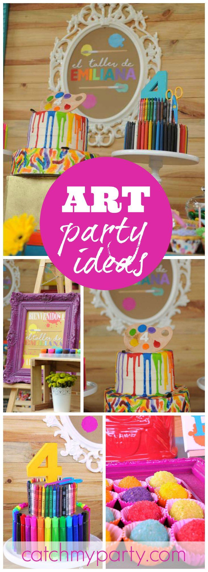 Check out this classic, yet fun dessert table for an art themed party! See more party ideas at CatchMyParty.com!