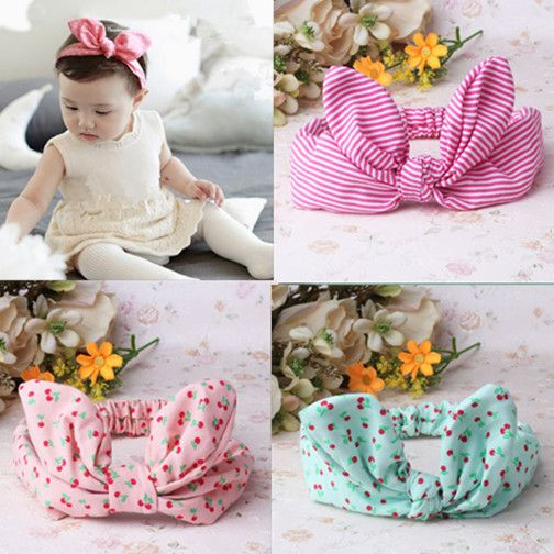 1PC Children Hair Accessories Lovely Bunny Ear Baby Headbands Elastic Fashion Soft Toddler scrunchy Bow Knot Girls Headband