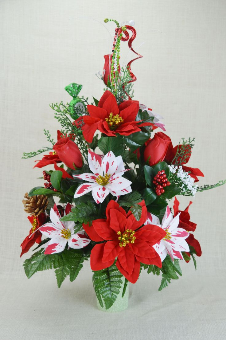 Fibre optic christmas flowers and xmas flowers - Cc003 Holiday Christmas Silk Flower Cemetery Cone Vase Arrangement Tombstone Saddle