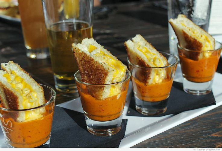 Grilled Cheese Mac & Cheese in Shots of Tomato Soup.