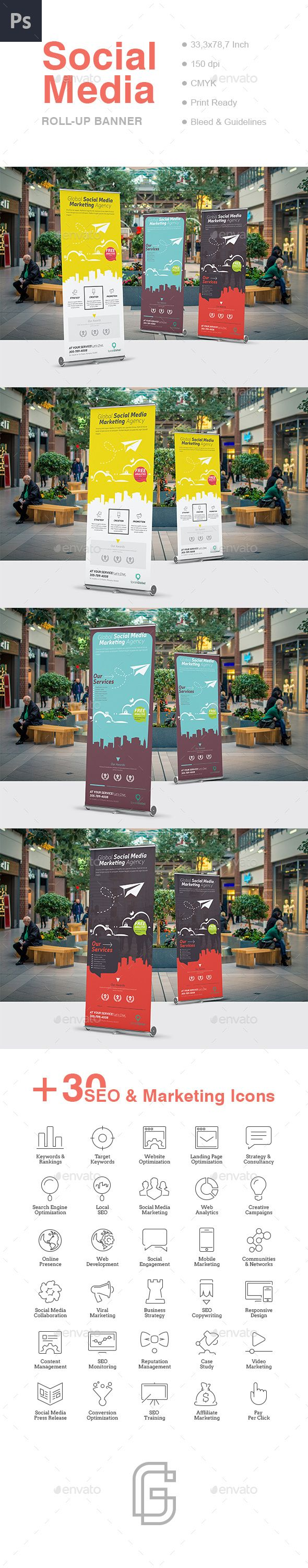 Social Media RollUp Banner — Photoshop PSD #marketing agency #social media • Download ➝ https://graphicriver.net/item/social-media-rollup-banner/19121685?ref=pxcr