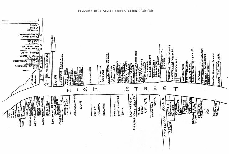 https://flic.kr/p/g3EN3s | Old Street plan of Keynsham High Street | Keynsham's High Street shops haven't always been a dull mix of travel agents, take-aways, charity shops and empty units. Not at all. The town has a rich history of long-gone stores.