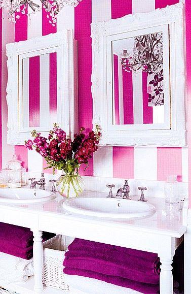 a girls bathroomLittle Girls, Stripes Wall, Dreams Bathroom, Hot Pink, White Bathroom, Bathroom Ideas, Girls Bathroom, Tiny Bathroom, Pink Bathroom