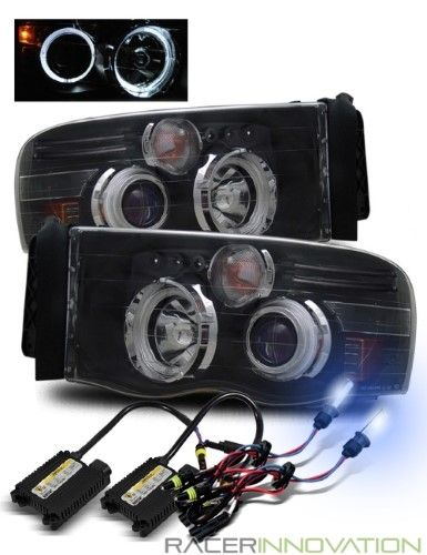8000k Hid For 02 05 Ram 03 05 Ram 2500 3500 Led Halo Projector Headlights Black Projector Headlights Ram 2500 Black Headlights