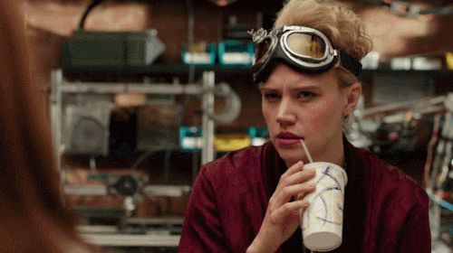 Hello and Wink.  Scene-stealing Jillian Holtzmann played by Kate McKinnon, Ghostbusters GIFs from Eonline.