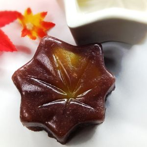 "fall wagashi ""もみじ蒸し羊羹(momizi mushi youkan)"" #japan #maple"