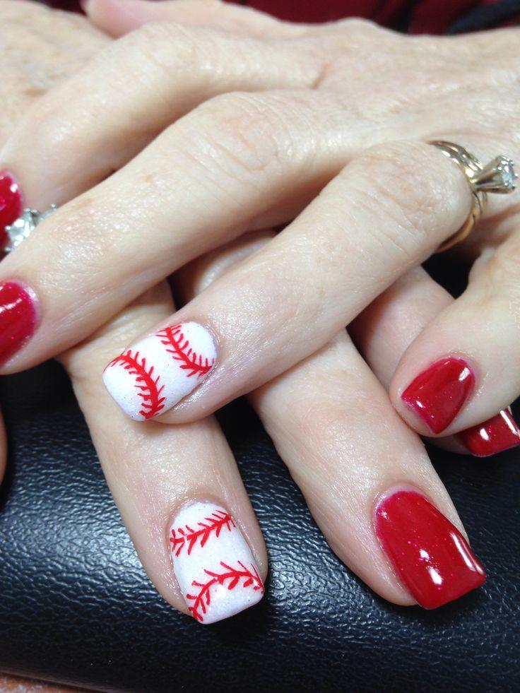 Baseball nail art | Gel nail art by Ruth | Pinterest | Baseball nail ...