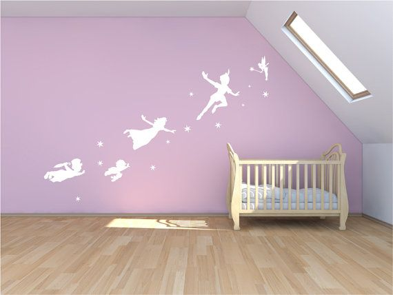 Peter Pan wall decal, sticker, fantasy fairytale mural, childrens nursery magic tinker bell mural, wall art. on Etsy, $94.45 CAD