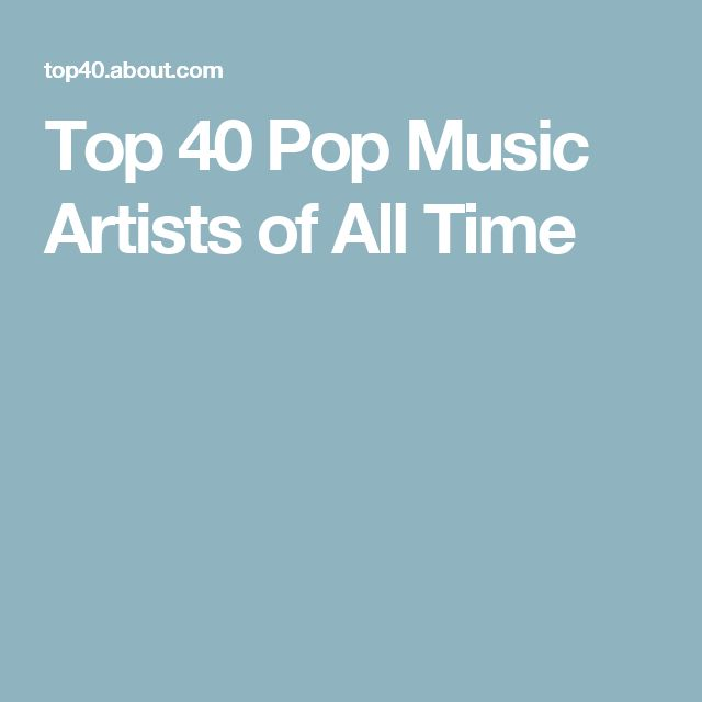 Top 40 Pop Music Artists of All Time