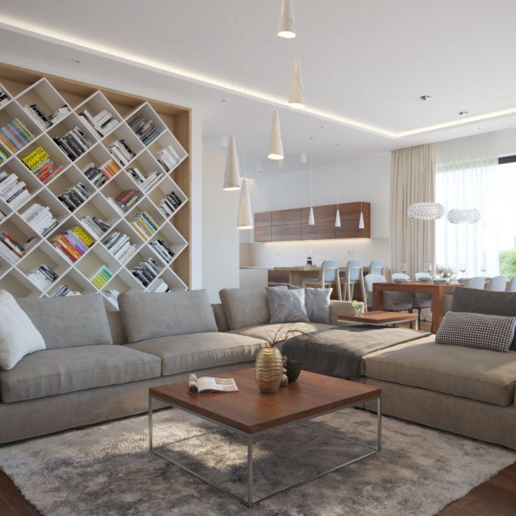 Jednoduché farbené línie, prepojené drevom vytvárajú teplý a priestranný interiér.