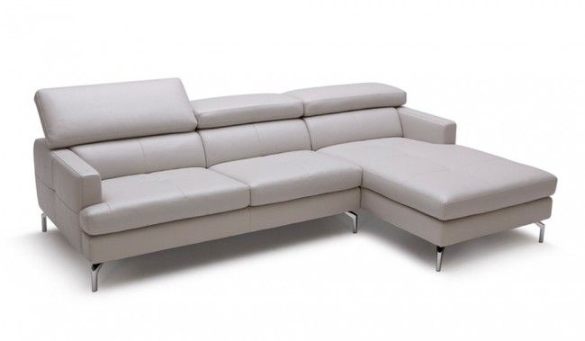 Renzo Small Grey Leather Corner Sofa with adjustable headrest - Top grain leather by Delux Deco