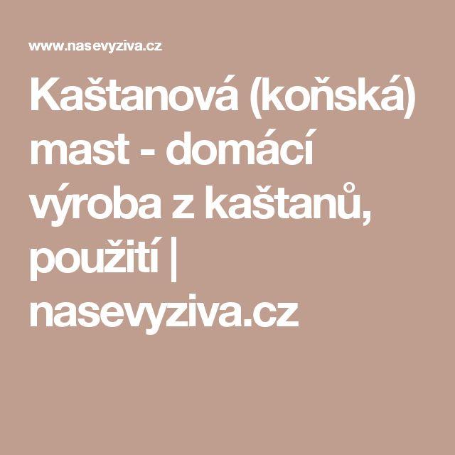 Kaštanová (koňská) mast - domácí výroba z kaštanů, použití   nasevyziva.cz