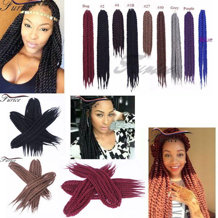18 Inch Nature Black 2X Havana Twist Crochet Hair Extensions Curly Kanekalon Jumbo Tresse Senegalese Twist Hair Havana Twist box
