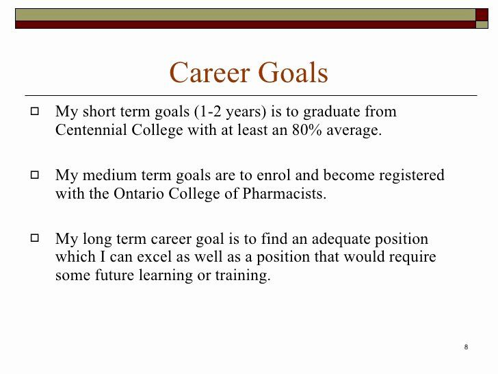 Statement Of Academic Goal Example Fresh Career Portfolio Essay Examples Short Term And Long