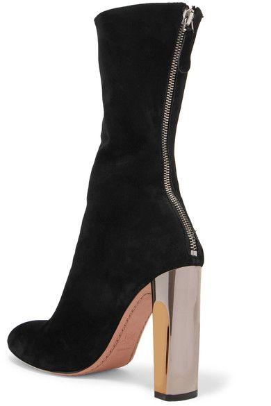 Alexander McQueen - Embellished Suede Ankle Boots - Black