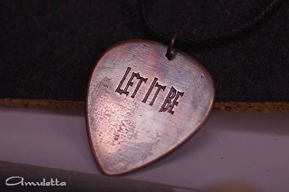 Let it be  metal guitar pick jewelry by AmulettaHu on Etsy