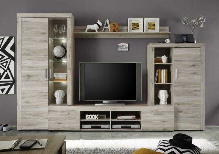 Soggiorno moderno iago composizione mobile porta tv con for Center mobili outlet