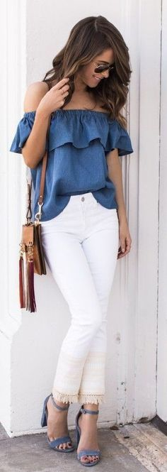 #spring #style #fashionistas #outfitideas | Blue Ruffle Off The Shoulder Top + White Jeans | The Style Bungalow