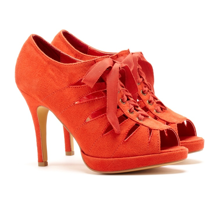 These cute lace up heels are a fun Coral color - from Sole Society